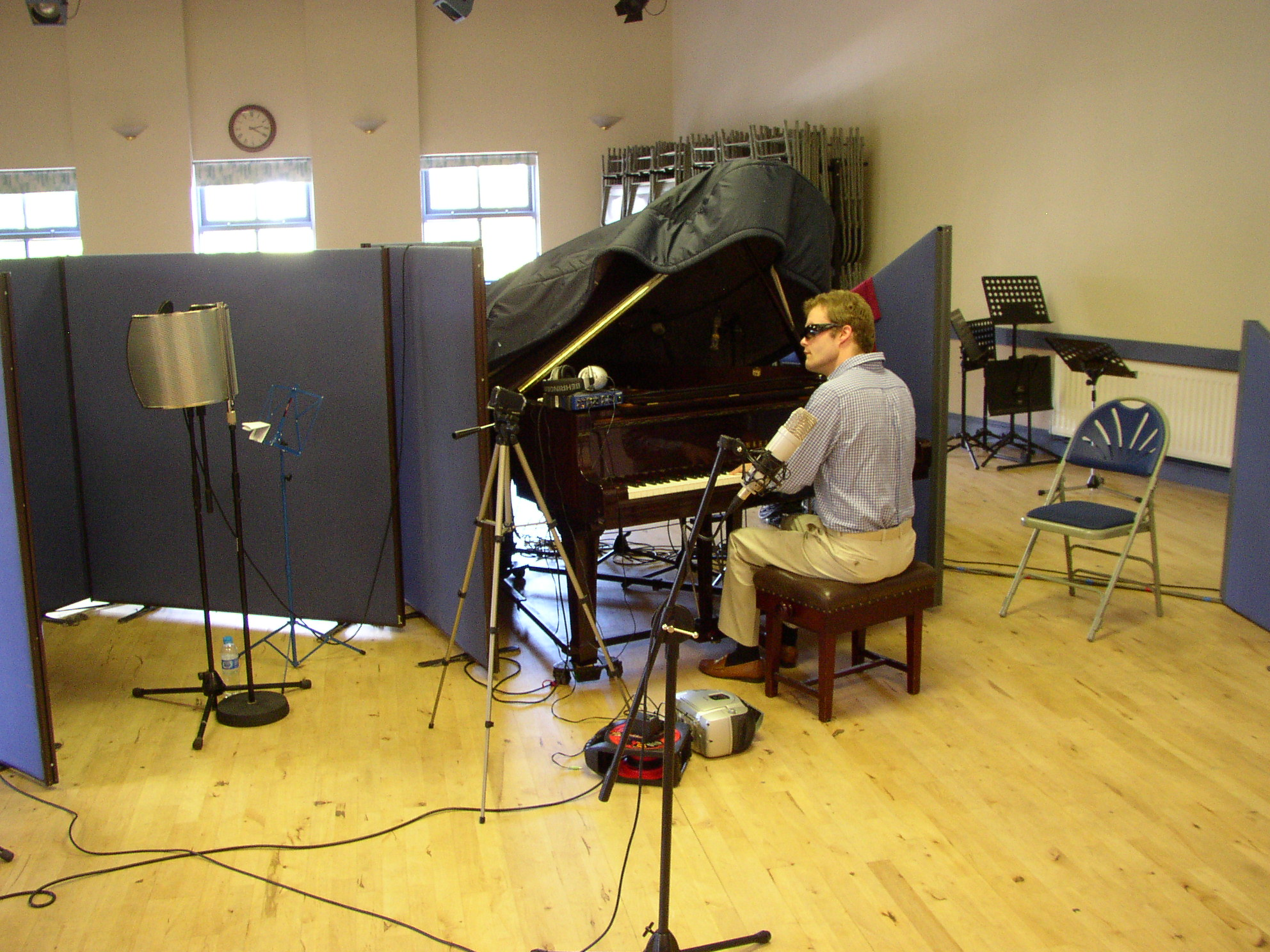 Recording with the Grand Piano at Cosy hall Newport.